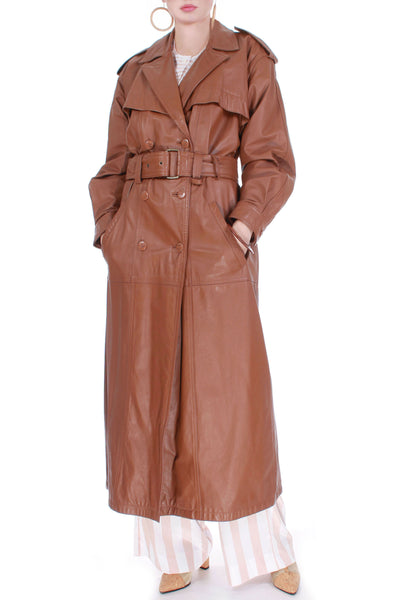 Vintage Caramel Leather Trench Coat Women's Size XL