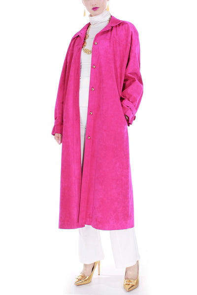 Hot Pink Faux Suede Duster Coat Made in the USA Vintage Size Large