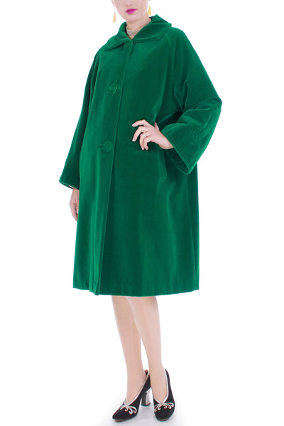 50s Vintage Green Velvet Swing Coat Made in Canada Size XL