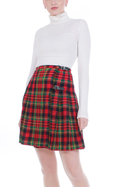 "Vintage Nordstrom Tartan Plaid Pleated Skirt with Side Buckles Red Green Wool Women's Size XS 26"" waist"