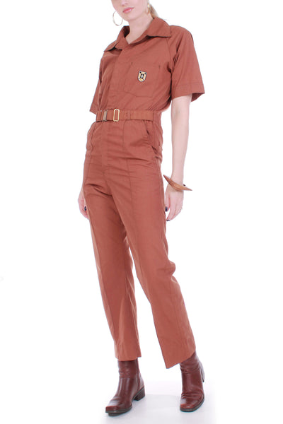Vintage 70s Work Coveralls Sienna Brown Cotton Blend Jumpsuit Size Small