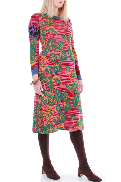 "Vintage Betsey Johnson Alley Cat Knit Sweater Dress ICONIC Space Dyed Novelty Cactus 1970's Women's Clothing Size XS-Small 30-35"" Bust"