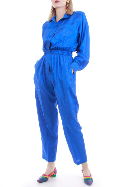 "80's Vintage Shiny Blue Satin Jumpsuit Women's Size XS-Small 25"" waist"