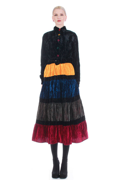 "80s Vintage D.Frank Crushed Velvet Long Sleeve Tiered Multi Colored Dress Size M 30"" waist"