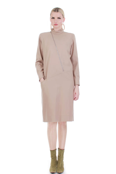 courreges-france-beige-wool-mod-dress-women-large