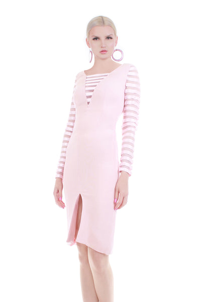 vintage valentino pink silk bodycon long sleeve dress pastel blush pink minimalist clothing kco vintage