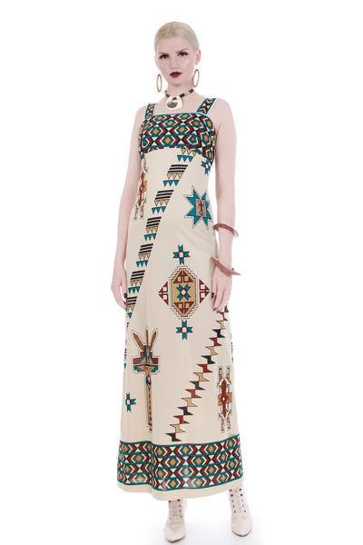 1970s vintage Alfred Shaheen Southwest Native American-inspired printed maxi dress