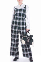 Vintage Seersucker Plaid Black and White Jumpsuit Women's Size Medium