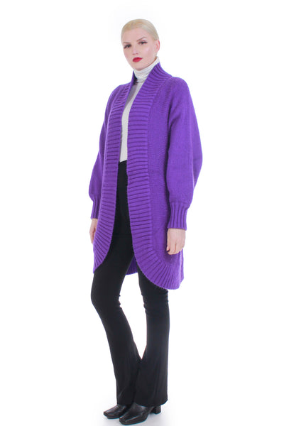 80s Purple Batwing Chunky Knit Long Cardigan Duster Sweater Size M
