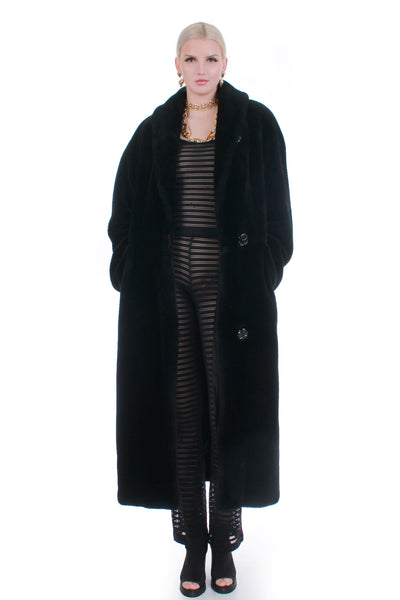 80s Vintage Plush Full Length Black Faux Fur Coat Size XL