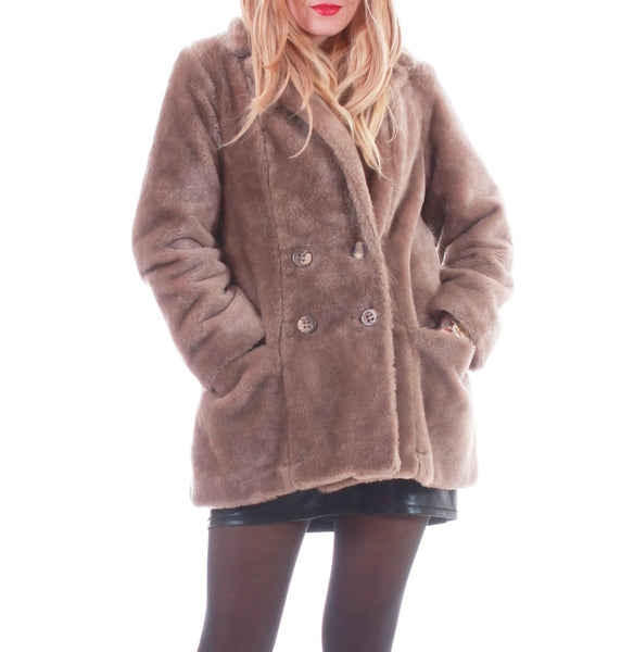 Faux Fur Coat Faux Fur Jacket 80s Clothing Beige Taupe Jacket Vegan Fur Coat Retro Mod 90s Vintage Clothing Women's Size SMALL