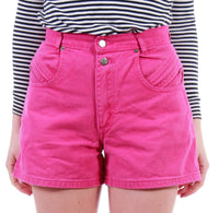 "High Waisted Short Denim Shorts Pink Denim Shorts 80s Vintage 90s Clothing Women's Size XS / SMALL 26"" Waist"