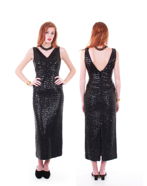 "Black Sequin Dress 60s Dress Black Maxi Dress Sequin Maxi Dress Hollywood Glamour Gown Wiggle Dress Vintage Clothing Women Size XS 33"" Bust"