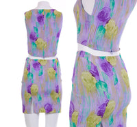 Vintage Versace Lavender Silk Crop Top and Mini Skirt Set 2pc Set Made in Italy