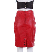"80s Red Leather High Waist Pencil Skirt by WILSONS Women's Size Small - 27"" waist - 35"" hips"