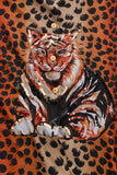 Vintage Silk Leopard and Tiger Print Oversized Sequin Blouse Size XL