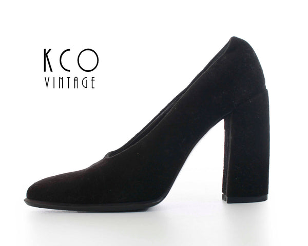 Velvet Shoes 6 Via Spiga Shoes Black Pumps Black High Heels Block Heel Shoes 80s 90s Vintage Shoes Women's Size US 6