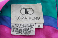 Vintage Flora Kung Pastel Silk Caftan Dress with Sash Belt Size Medium