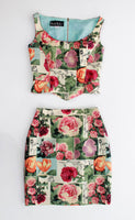 Vintage Silk 2pc Set Floral Nicole Miller High Waist Skirt Set
