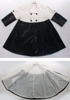 60s Mod Raincoat Black and White Color Block Swing Jacket Size XL