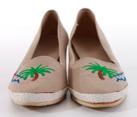 Wedge Platform Shoes 80's Vintage Embroidered Novelty Palm and Sailboat Women's Size 8