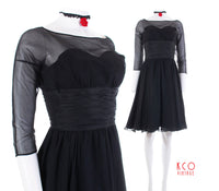 1950's Vintage Nathan Strong Dress Black Chiffon Fit and Flare Women's Size XS