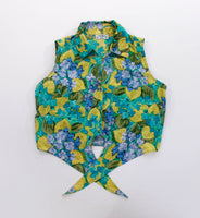 Vintage Floral Crop Top Green Blue Tie Front Blouse Women's Size Small