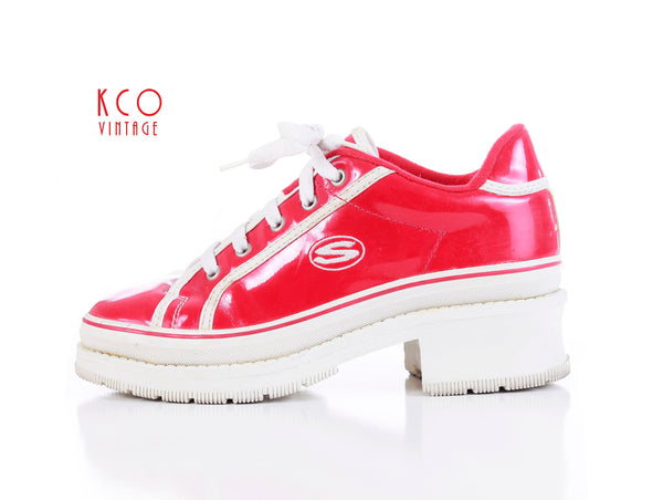 Skechers Platform Sneakers Shiny Red Patent Vegan Leather 1990's Vintage Women's Shoes Size US 6.5 UK 4.5 EUR 37