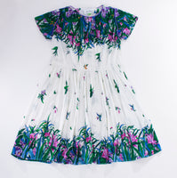 Vintage Micro Pleated Botanical Floral Print Dress