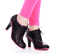 90s High Heel Pink and Black Sneakers Women's Size 6.5 - 7