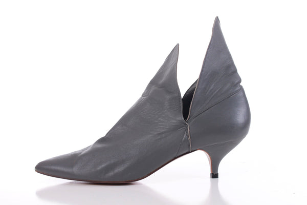 Norma Kamali Grey Leather Ankle Boots 1980's Vintage Avant Garde Shoes Size 10