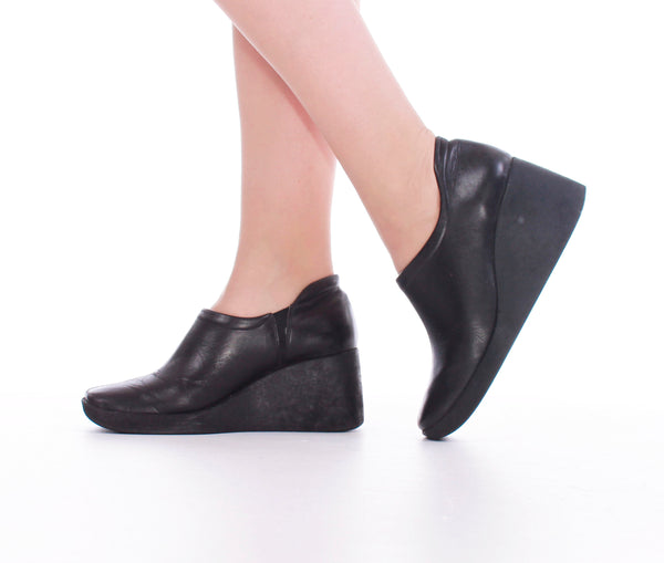 Wedge Platform Black Ankle Boots Women's Size 6.5