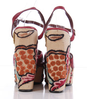 1970's Bonnie Smith for Kimel Embroidered Platform Sandals RARE The Wonder Wedge Size 10