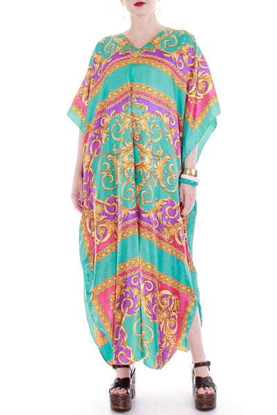 Vintage Baroque Caftan Maxi Dress Women's One Size Fits Most