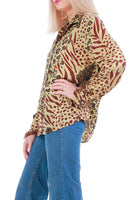 Vintage Silk Animal Print Blouse Women's Size Medium
