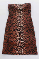 "Leopard Bodycon Stretch Cotton Lycra Animal Print Strapless Mini Dress Made in the USA size small 32-36"" bust"