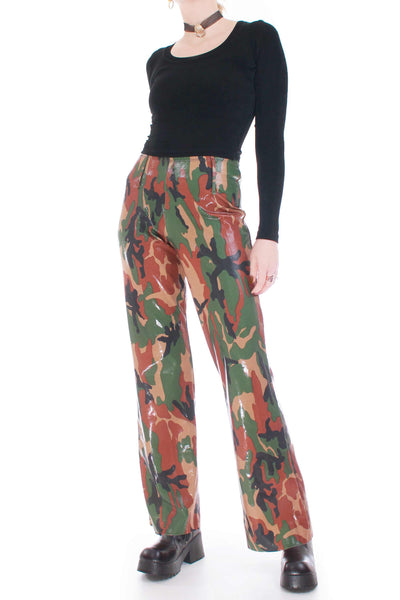 "90's Vtg Shiny Camo Pants Women's Size Medium 23-30"" Waist"