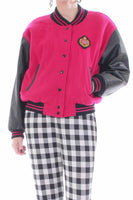 90's Pink Wool and Leather Letterman Jacket Women's Size Medium