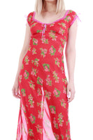 Vintage Betsey Johnson Silk Berry Print Red Slip Dress Women's Size Small