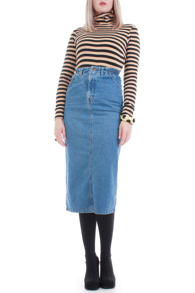 90s Denim High Waist Pencil Skirt