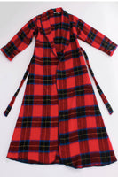 Vintage Red Plaid Flannel Wrap Duster Maxi Coat Robe Made in the USA