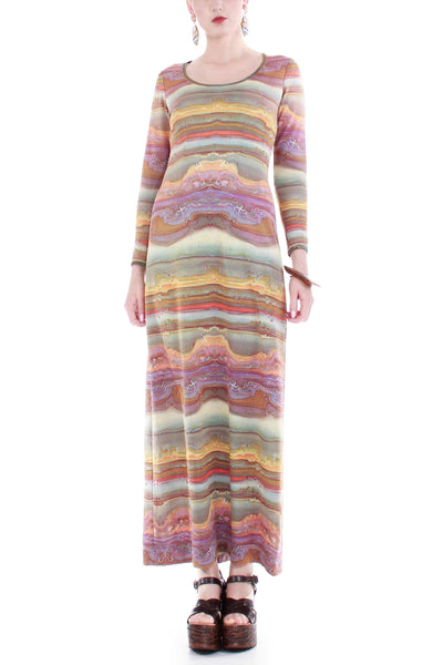 70s Metallic Knit Long Sleeve Maxi Dress
