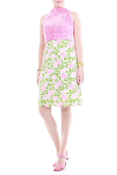 1960s Lilly Pulitzer The Lilly Pink Floral Cotton Skirt