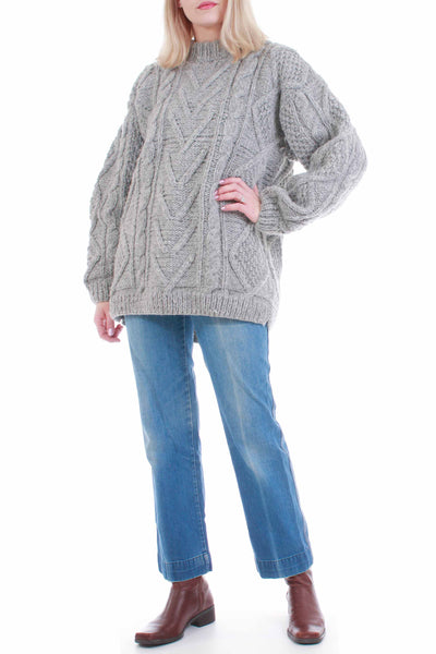 Chunky Cable Knit Gray Wool Sweater