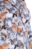 70s Cat Print Tailored Cotton Blouse