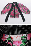 80s Vintage 2pc Set Susan Freis Polka Dot and Floral Print Blouse and Skirt