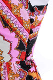 60s Psychedelic Paisley Off Shoulder Maxi Dress Women's Size Small