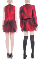 90s Vintage Versace 2 Piece Checkered Dress and Jacket Set Made in Italy