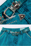 2pc Studded Denim High Waist Jeans and Jacket Made in the USA