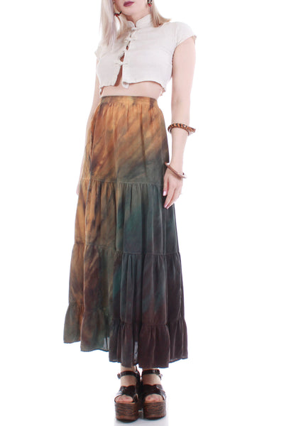 80s Vintage Ombre Heavy Rayon Tie Dyed Peasant Maxi Skirt